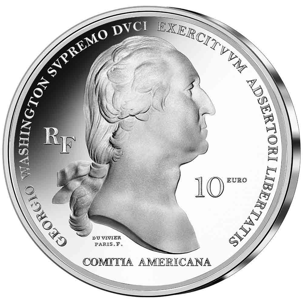 """2021 Silver €10, €25 and gold €50 Georges coins """"WASHINGTON's Boston siege"""""""