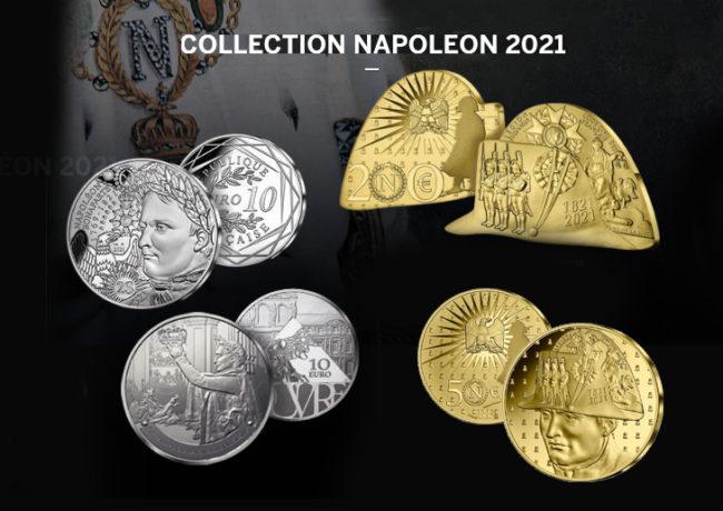 Collection de monnaies NAPOLÉON 1ER – BICENTENAIRE de sa disparition 2021 Monnaie de Paris