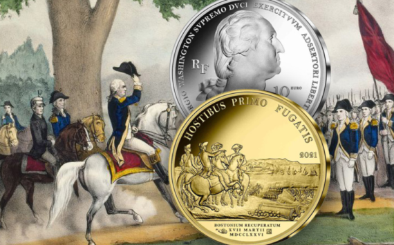 "2021 Silver €10, €25 and gold €50 coins – ""WASHINGTON's Boston siege"""