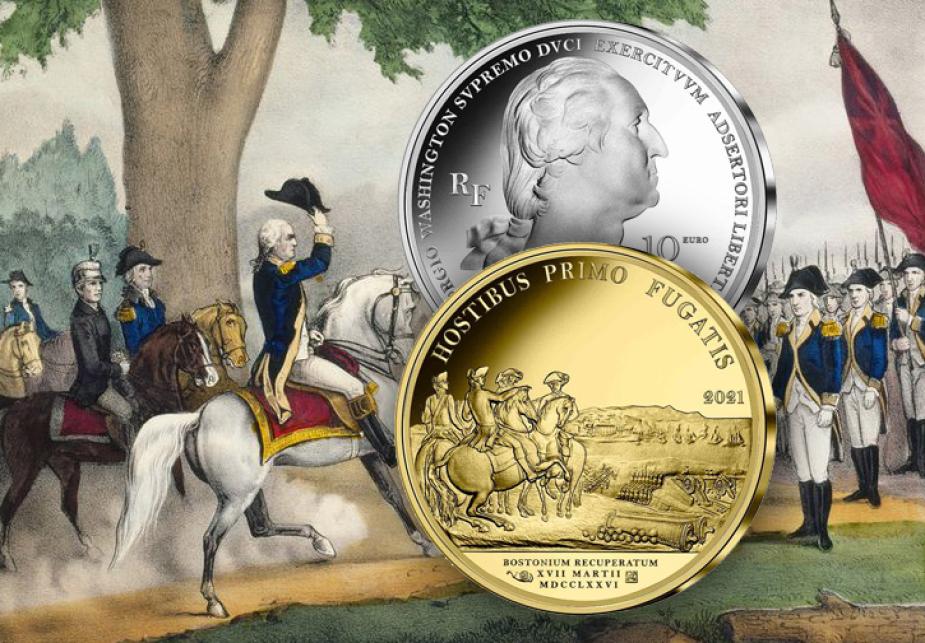 "2021 Silver €10, €25 and gold €50 coins – ""WASHINGTON's Boston siege"""