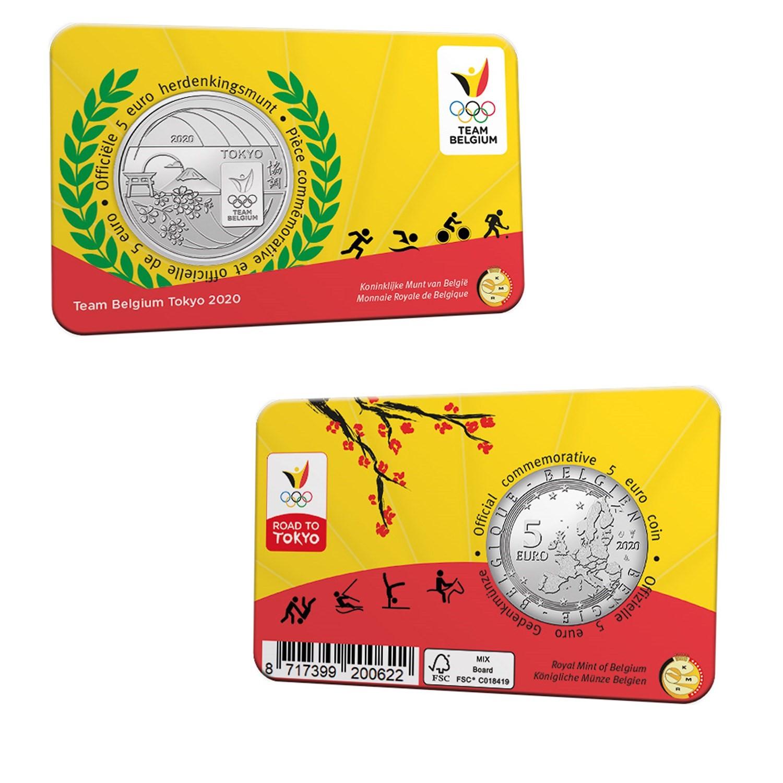 5€ belge commémorant l'équipe olympique 2021