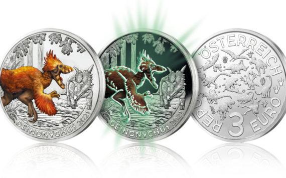 2021 austrian €3 coin dedicated to Deinonychusantirrhopus
