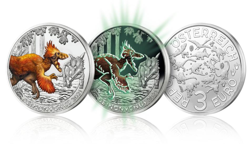 3€ 2021 de l'austrian Mint dédiée au Deinonychusantirrhopus