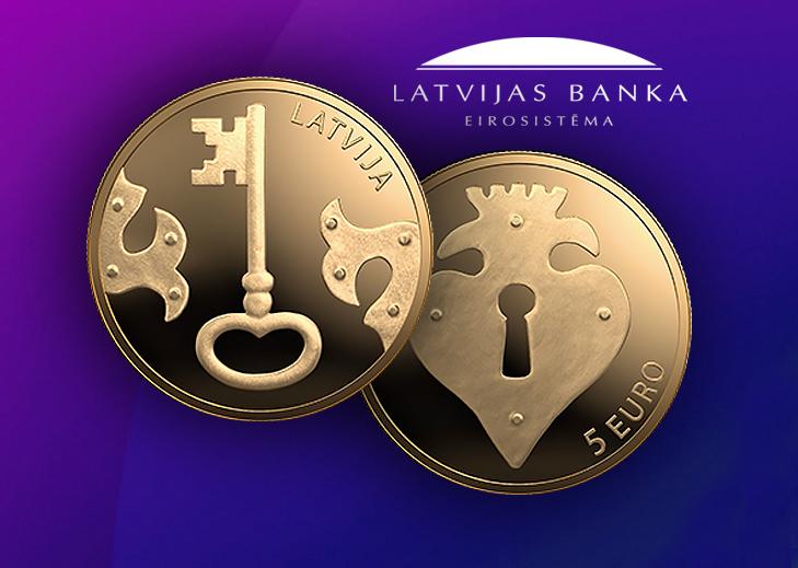 2021 latvian €5 Key coin