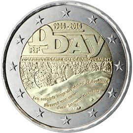 2€ commémorative D DAY 2014 - une pièce BE à plus de 100€