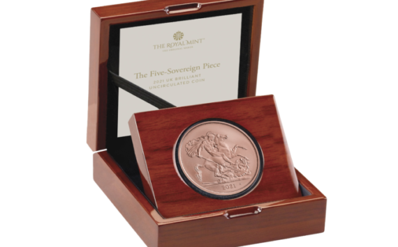 The 2021 very valuable Five-Sovereign coin from Royal Mint