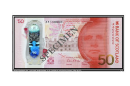 Vente caritative – nouveau billet polymere de 50 £ Bank of Scotland chez SPINK