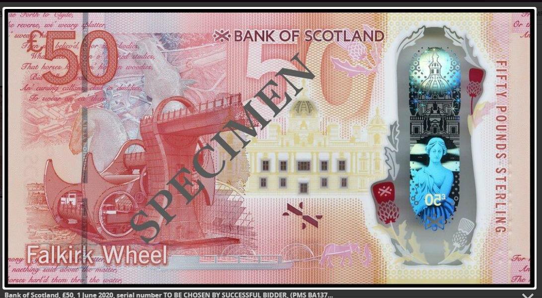 Vente caritative - nouveau billet polymere de 50 £ Bank of Scotland chez SPINK