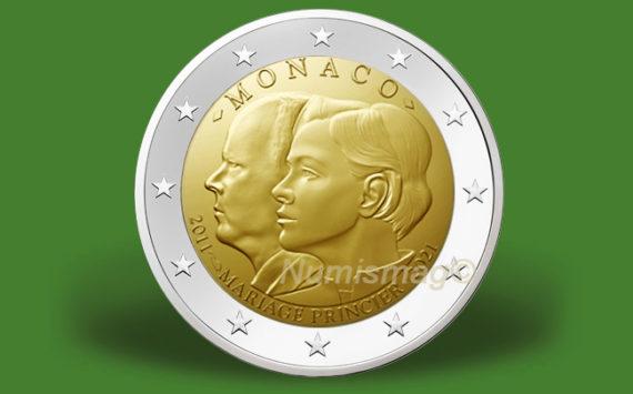 2 euro 10e anniversaire du mariage du prince Albert et Charlène de Monaco 2021