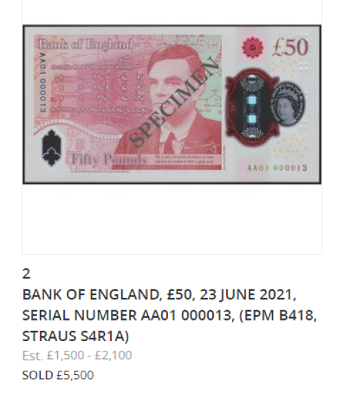 New £50 TURING banknote, sold for £13 000 at SPINK LONDON