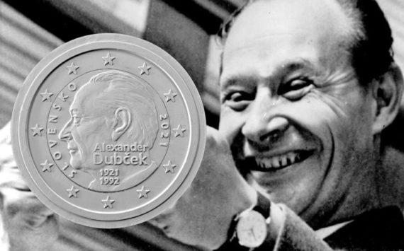 2021 slovak €2 coin celebrating 100th anniversary of DUBCEK's birth