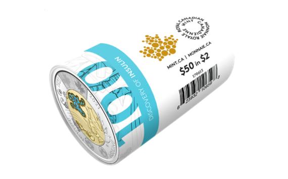 2021 CN$ 2 commemorative coin celebrating discovery of insulin
