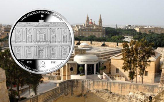 10€ 2021 maltaise – 225 ans de la BIBLIOTHECA de La Valette