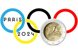 """2021 €2  coin """"2024 – The handing-over of the Olympic flag """", by Monnaie de Paris 2021"""