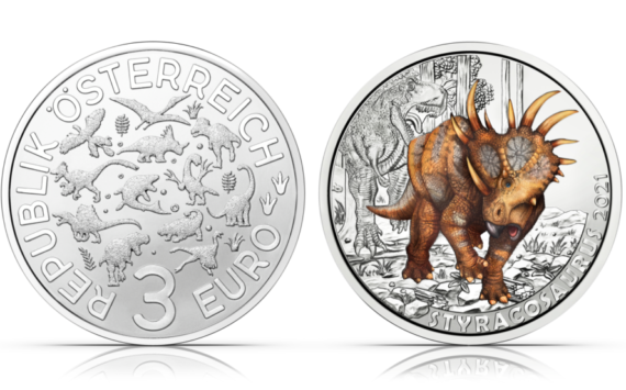 "2021 €3 ""STYRACOSAURUS ALBERTENSIS"" from Austrian Mint"