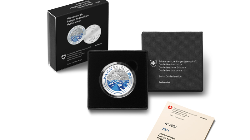 2021 silver colorfull and fluo coin Hydropower from SWISSMINT