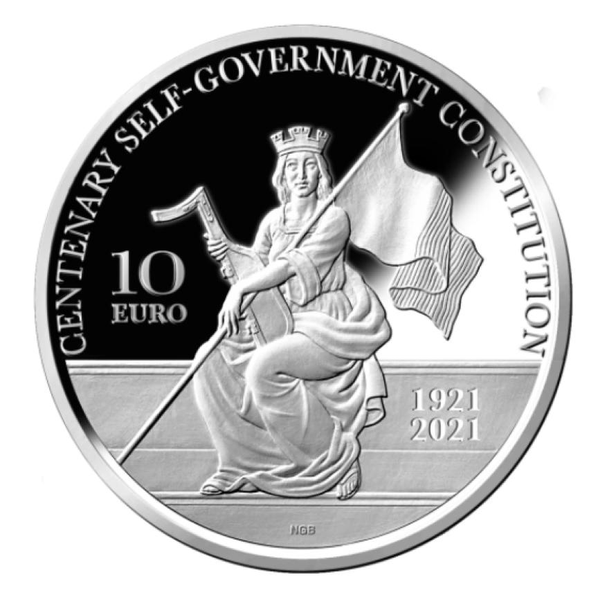 €10 silver proof coin - Centenary 1921 Malta self-government constitution