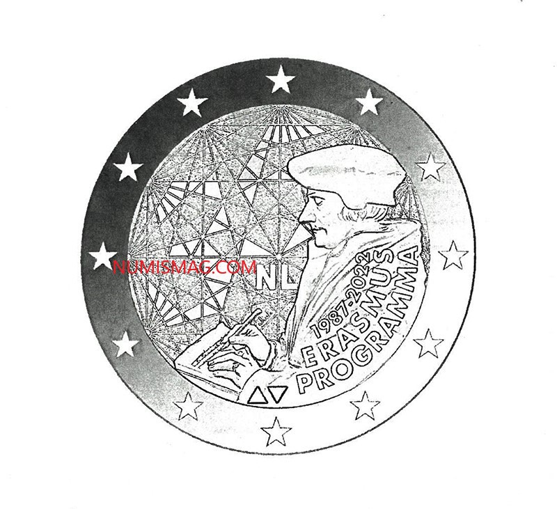 2 euro commemorative coin of 2022, dedicated to the 35th anniversary of the Erasmus programme